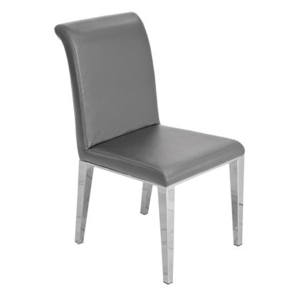 An Image of Kirkland Faux Leather Dining Chair In Grey With Chrome Legs