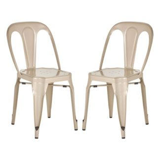 An Image of Dschubba Champagne Metal Dining Chairs In Pair