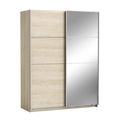 An Image of Oakley Mirrored Sliding Wardrobe In Shannon Oak With 2 Doors