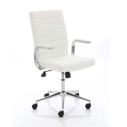 An Image of Tylor Executive Chair In White Bonded Leather With Wheels