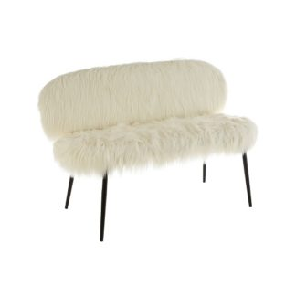 An Image of Merope White Faux Fur Sofa In Pair With Black Legs