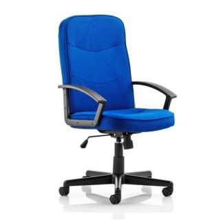 An Image of Janelle Fabric Office Chair In Blue With Padded Seat