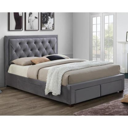 An Image of Woodbury Fabric King Size Bed In Grey