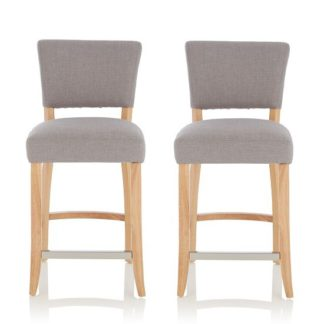 An Image of Stacia Bar Stools In Grey Fabric And Oak Legs In A Pair