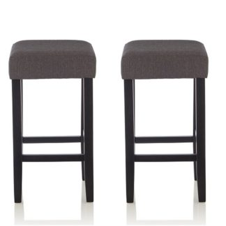 An Image of Newark Bar Stools In Dark Grey Fabric And Black Legs In A Pair