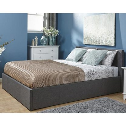 An Image of Side Lift Ottoman Fabric Double Bed In Grey