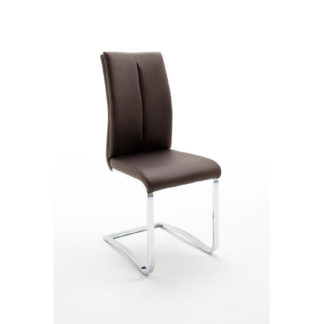An Image of Tavis Metal Swinging Brown Faux Leather Dining Chair