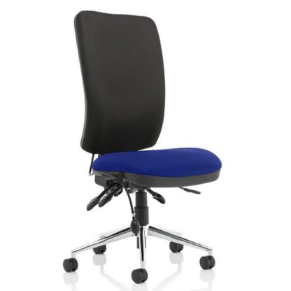 An Image of Chiro High Black Back Office Chair In Stevia Blue No Arms