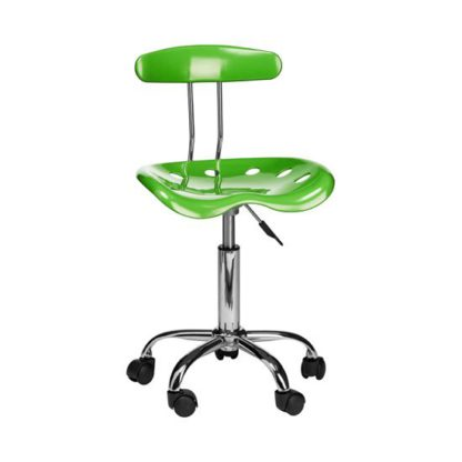 An Image of Hanoi Office Chair In Green ABS With Chrome Base And 5 Wheels