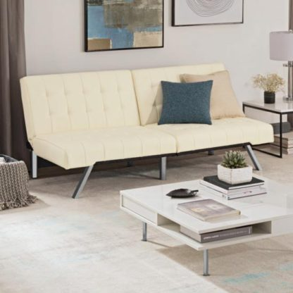 An Image of Emily Faux Leather Convertible Sofa Bed In Vanilla