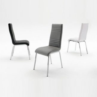 An Image of Dora Dining Chair In Black Faux Leather With Chrome Base