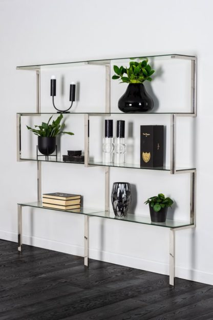 An Image of Miko Double Shelf Unit Chrome