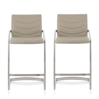 An Image of Darren Bar Stool In Taupe Faux Leather In A Pair