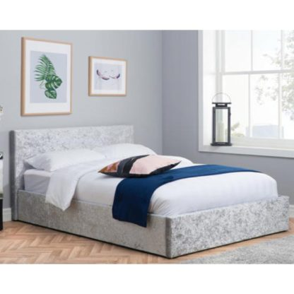 An Image of Berlin Fabric Ottoman Double Bed In Steel Crushed Velvet