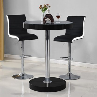 An Image of Havana Bar Table In Black With 2 Ritz Black And White Bar Stools