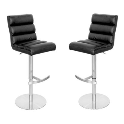 An Image of Bianca Black Leather Bar Stool In Pair