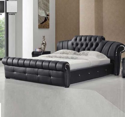 An Image of Veronica Chesterfield Style King Bed In Black Bonded Leather