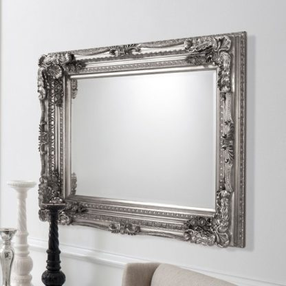An Image of Louisa Rectangular Wall Mirror In Silver With Baroque Style