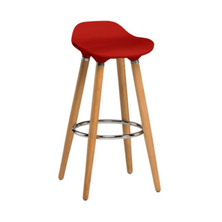 An Image of Adoni Bar Stool In Red ABS With Natural Beech Wooden Legs