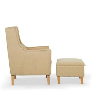 An Image of Hilton Fabric Lounge Chair With Foot Stool In Oatmeal