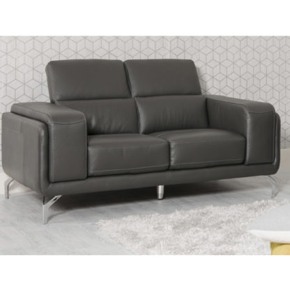 An Image of Linea Faux Leather Fixed 2 Seater Sofa In Grey