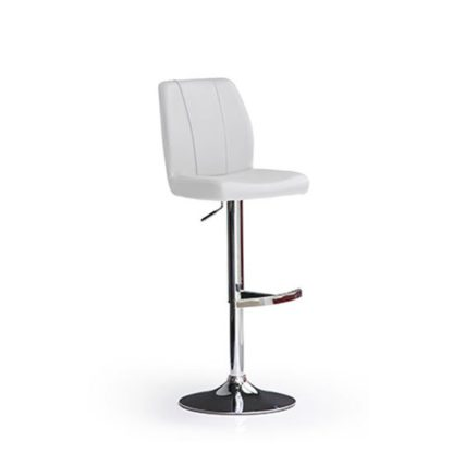 An Image of Naomi White Bar Stool In Faux Leather With Round Chrome Base