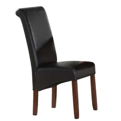 An Image of Sika Black Leather Dining Chair With Acacia Legs
