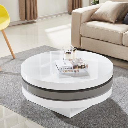 An Image of Triplo Rotating Coffee Table In White And Grey High Gloss