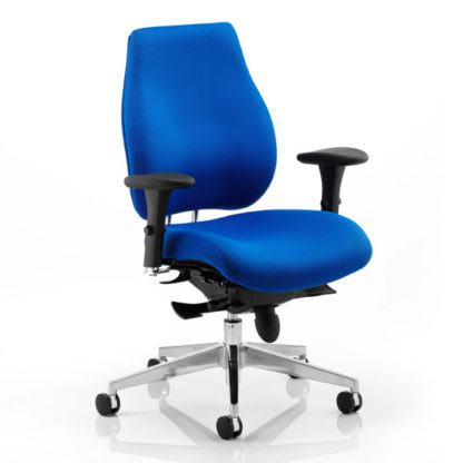 An Image of Chiro Plus Ergo Office Chair In Blue With Arms