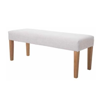 An Image of Webster Dining Bench In Beige Fabric With Wooden Legs