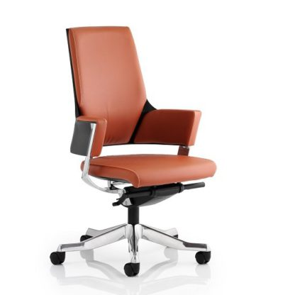An Image of Cooper Office Chair In Tan Bonded Leather With Medium Back