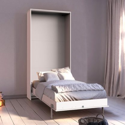 An Image of Juist Wooden Vertical Foldaway Single Bed In White