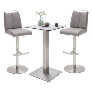 An Image of Soho Glass Bar Table With 2 Giulia Ice Grey Leather Stools
