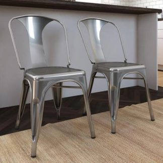 An Image of Finn Grey Metal Dining Chairs In Pair