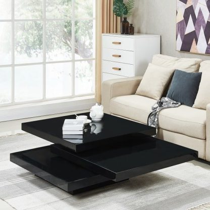 An Image of Triplo Rotating Coffee Table Square In Black High Gloss