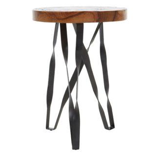 An Image of Praecipua Teak Wood Round Stool With Iron Legs