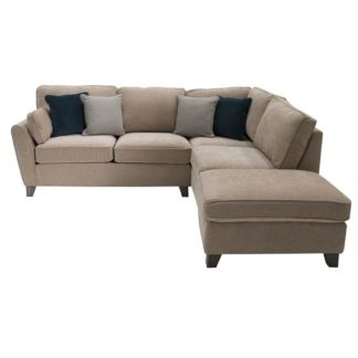 An Image of Barresi Chenille Fabric Right Hand Corner Sofa In Almond Finish
