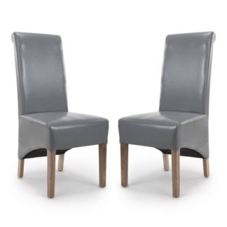 An Image of Krista Roll Back Bonded Leather Grey Dining Chairs In Pair