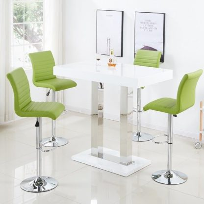 An Image of Caprice Bar Table In White Gloss And 4 Ripple Lime Green Stools