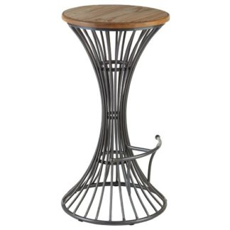 An Image of Maples Bar Stool In Wooden Seat With Metal Frame