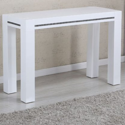 An Image of Diamante Console Table In White High Gloss With Rhinestones