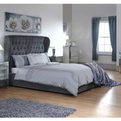 An Image of Toups Fabric Ottoman Storage King Size Bed In Grey