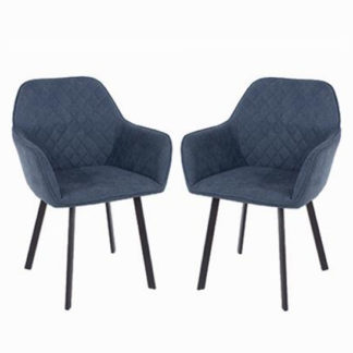An Image of Arturo Blue Fabric Dining Armchair In Pair With Black Metal Legs