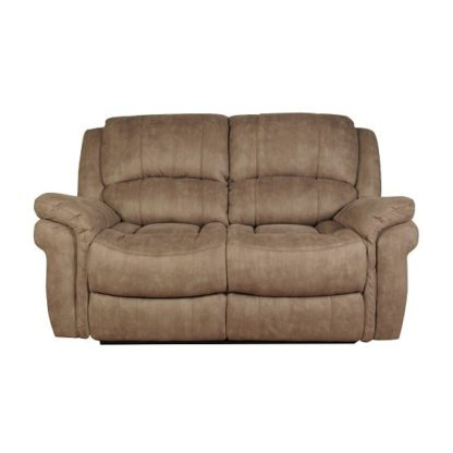 An Image of Claton Recliner 2 Seater Sofa In Taupe Leather Look Fabric