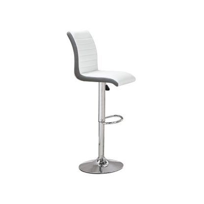 An Image of Ritz Bar Stool In White And Grey Faux Leather With Chrome Base