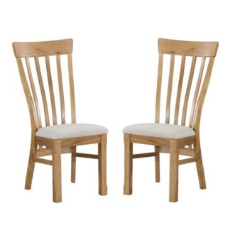 An Image of Trevino Oak Dining Chair In Pair
