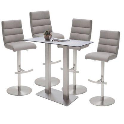 An Image of Soho Glass Bar Table With 4 Hiulia Ice Grey Stools
