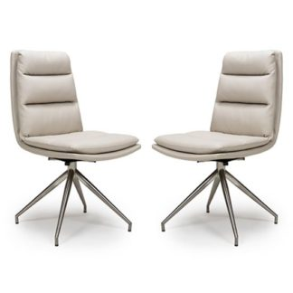 An Image of Nobo Taupe Faux Leather Dining Chair In A Pair With Steel Legs