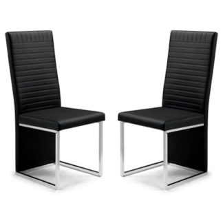 An Image of Tempo Black Faux Leather Dining Chairs In Pair