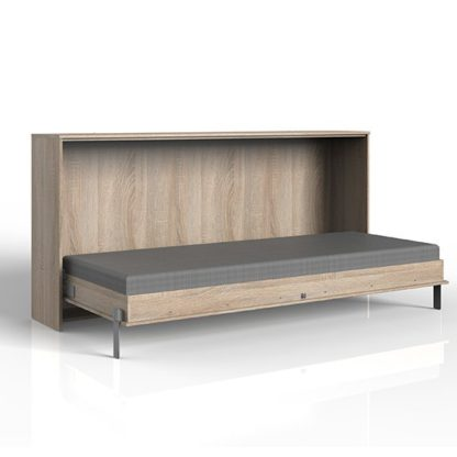An Image of Juist Wooden Horizontal Foldaway Single Bed In Planked Oak